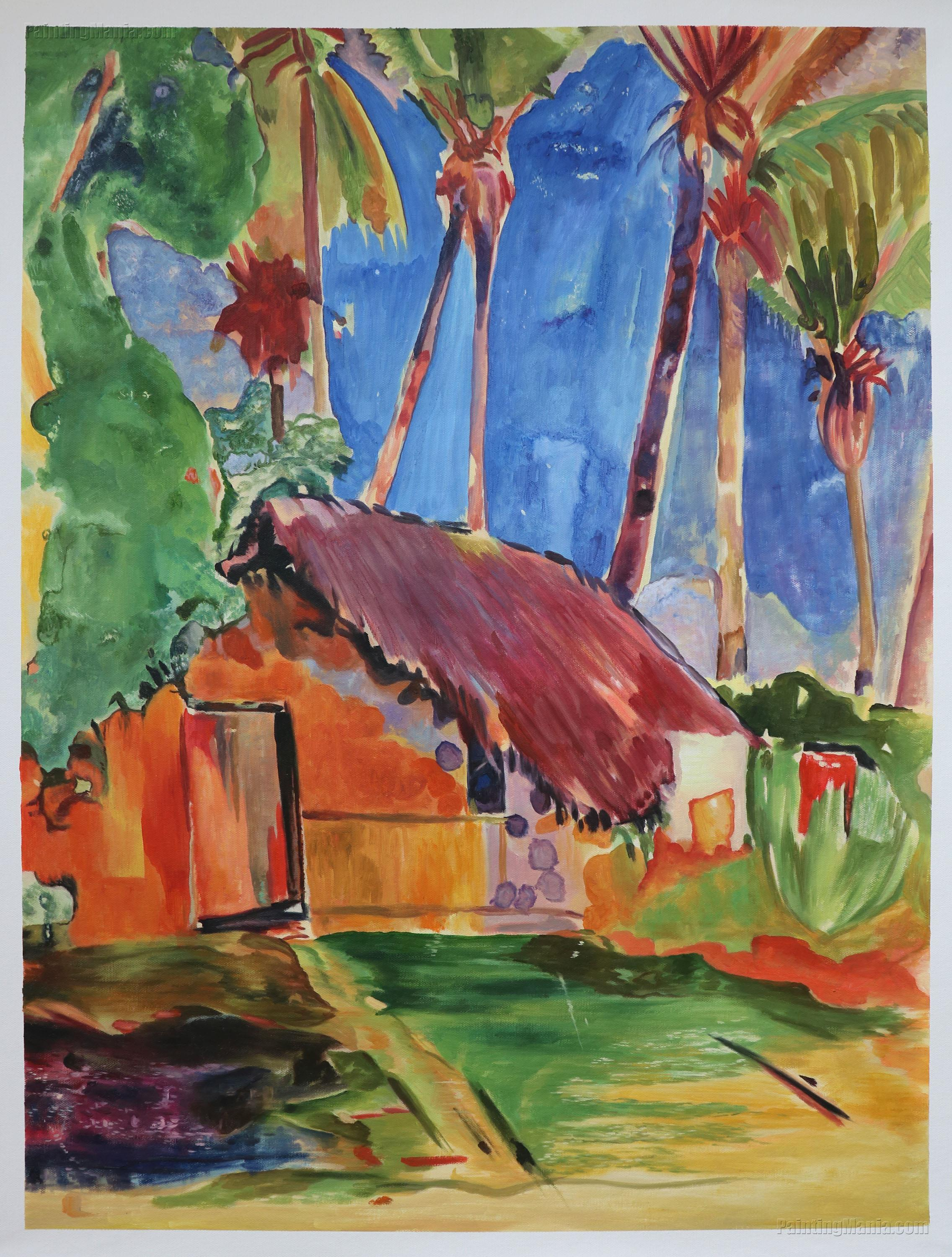 Thatched Hut under Palm Trees