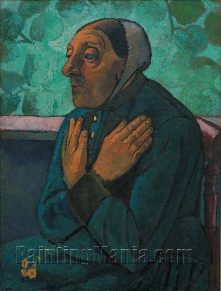 Alte Bauerin mit auf der Brust gekreuzten Handen