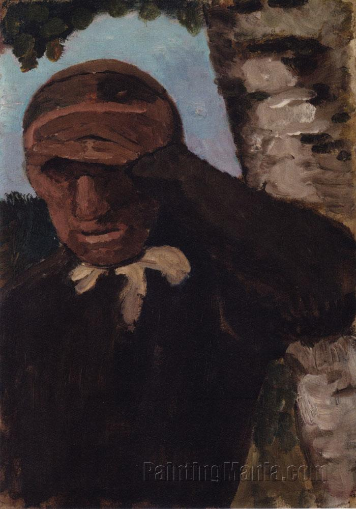 Alte Bauerin mit Hand an der Stirn