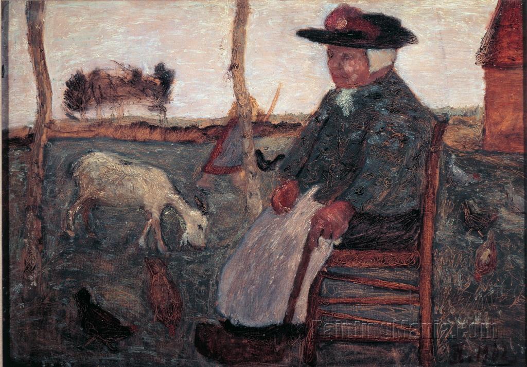 Alte Bauerin mit Ziege - Dreebeen mit Ziege und Huhnern