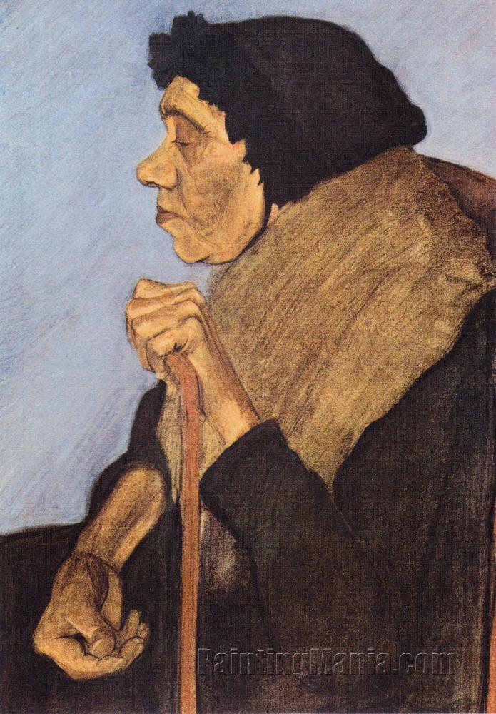 Alte blinde sitzende Frau