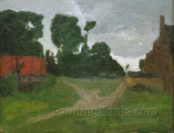 Am Dorfrand, rotes Haus und alte Fabrik