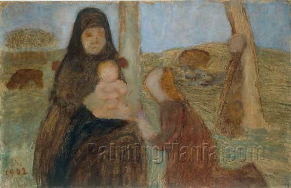 Anbetung, Figurengruppe mit sitzender Bauerin und Saugling