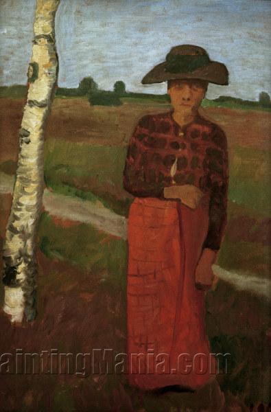 Bauerin an einer Birke