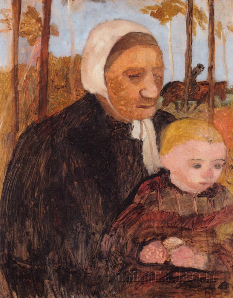Bauerin mit Kind, im Hintergrund ein Reiter