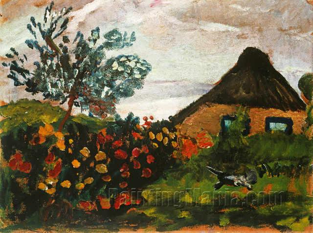 Farm House with Flower Garden and a Cat