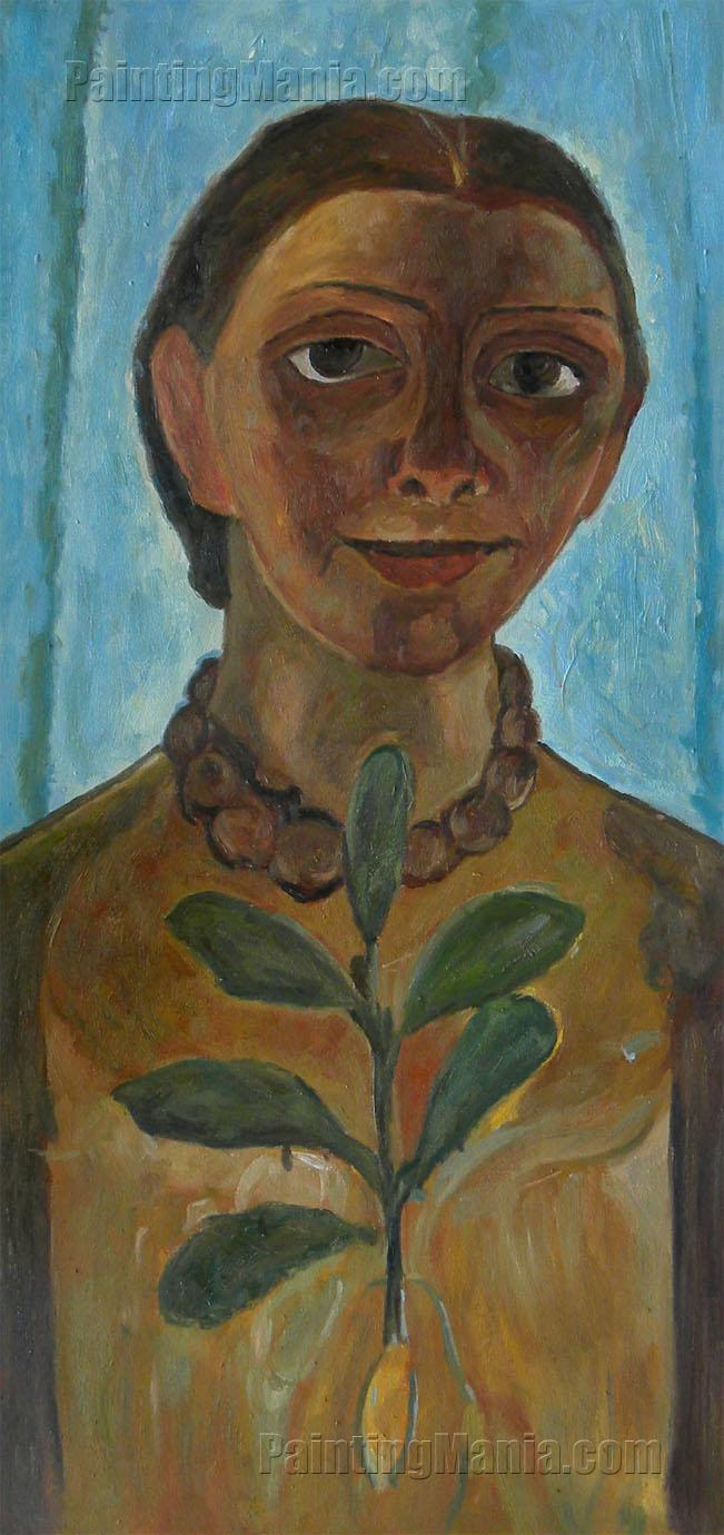 The Painter with Camellia Branch (Self Portrait)