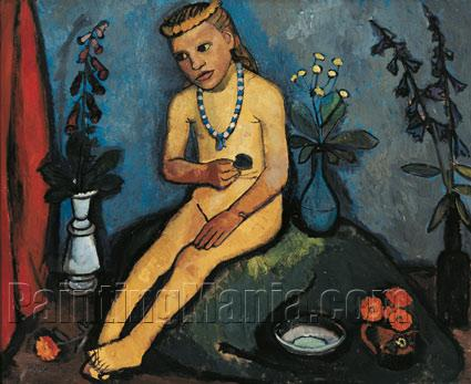 Seated Nude Girl with Flower Vases