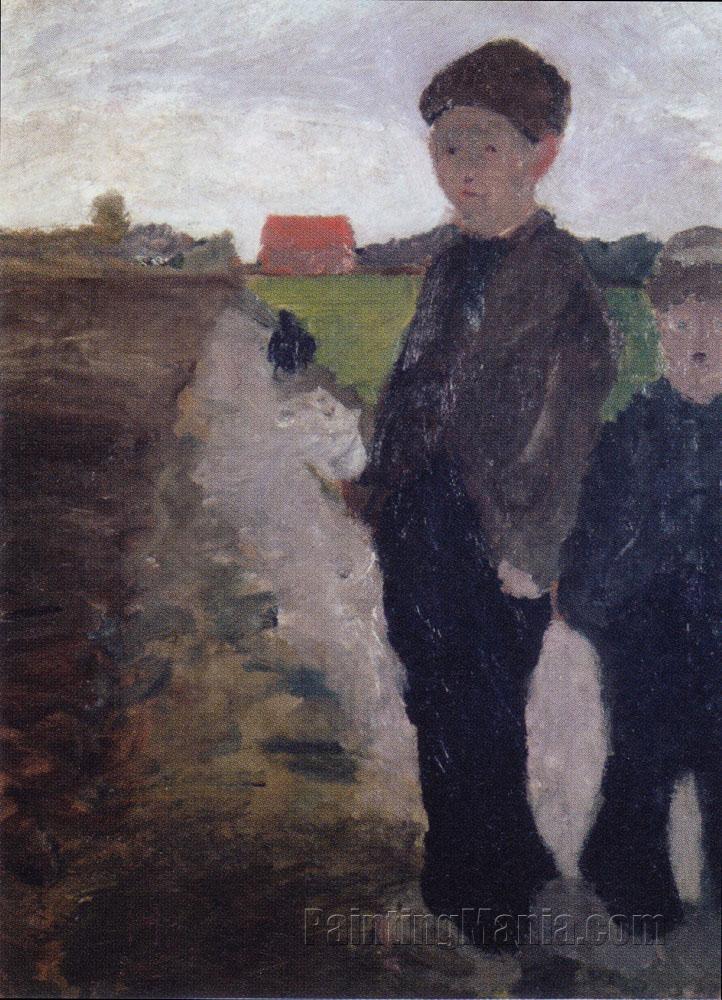 Zwei Jungen am Moorkanal