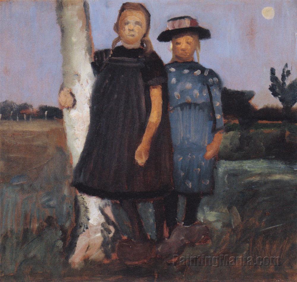 Zwei Madchen am Birkenstamm stehend