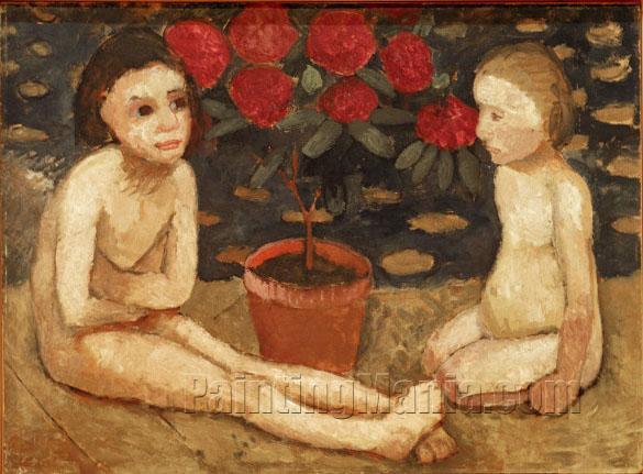 Zwei sitzende Kinderakte