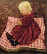 Bauernkind auf rotgewurfeltem Kissen