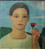 Bildnis der Schwester Herma mit Artischockenblute in der erhobenen Hand