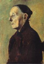 Brustbild einer alten Frau im Profil