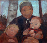 Brustbild einer Bauerin mit Kind und Saugling zwischen Birkenstammen