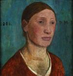 Brustbild einer Bauernfrau in rotem Kleid