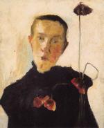 Brustbild einer Frau mit Mohnblumen