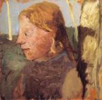 Brustbild eines Madchens im Profil neben einem Birkenstamm