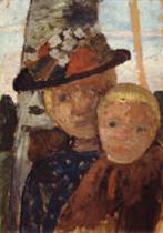 Brustbild eines Madchens mit Blumenhut und Junge