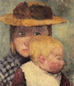 Brustbild eines Madchens mit Strohhut und Kind im Profil (auch Sonnige Kinder)