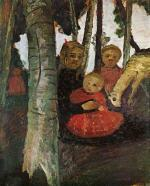 Drei Kinder mit Ziege im Birkenwald