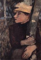 Frau mit Strohhut zwischen Birken