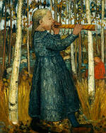Girl Blowing Flute in the Birch Forest