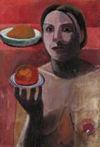 Halbakt einer Italienerin mit Teller in der erhobenen Hand, Herbst