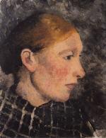 Kopf einer Bauerin im Profil nach rechts