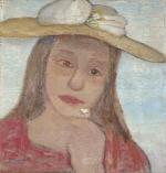 Kopf eines jungen Madchens mit Strohhut und Blume in der erhobenen Hand
