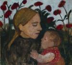 Madchen mit Kind vor roten Blumen