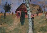 Rotes Haus mit Birke