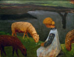 Seated Girl with Sheep at the Pond I