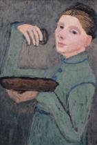 Selbstbildnis, Halbfigur nach links, eine Schale und ein Glas haltend