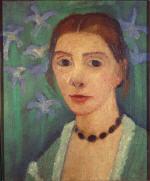 Selbstbildnis vor grunem Hintergrund mit blauer Iris