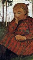 Sitting Girl in a Meadow