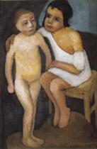 Sitting Girl in White Shirt and Standing Nude Girl
