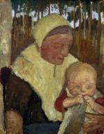 Sitzende Bauerin mit Kind vor Birken