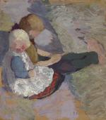 Zwei Kinder auf einer Wiese sitzend