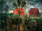 Zwei rote Hauser in Moorlandschaft