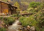 Mountain Hut by the Stream