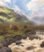 Highland Cattle by a Stream in Full Spate