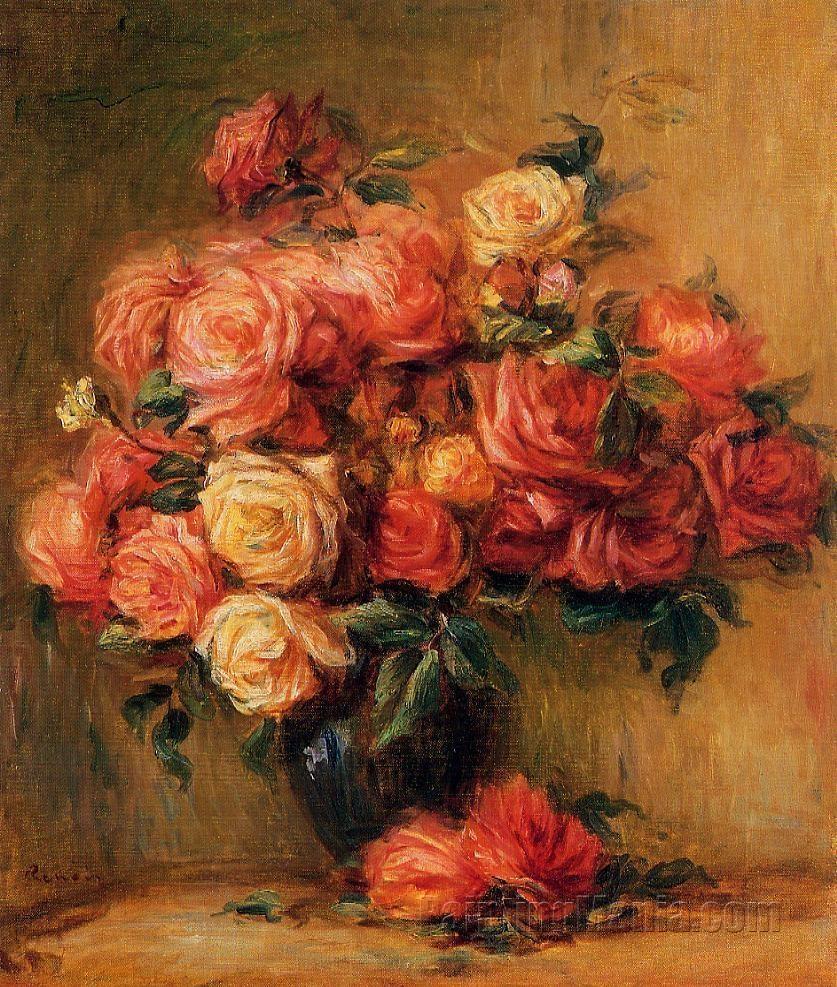 Bouquet of Roses - Pierre-Auguste Renoir Paintings