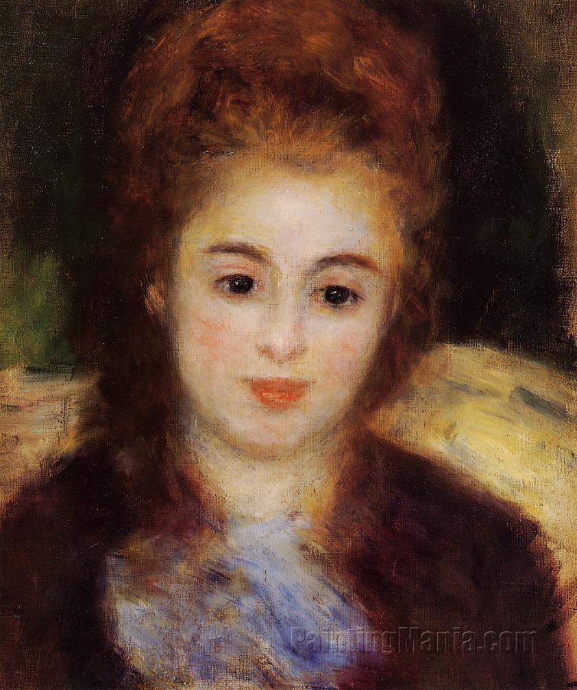 Head of a Young Woman Wearing a Blue Scarf