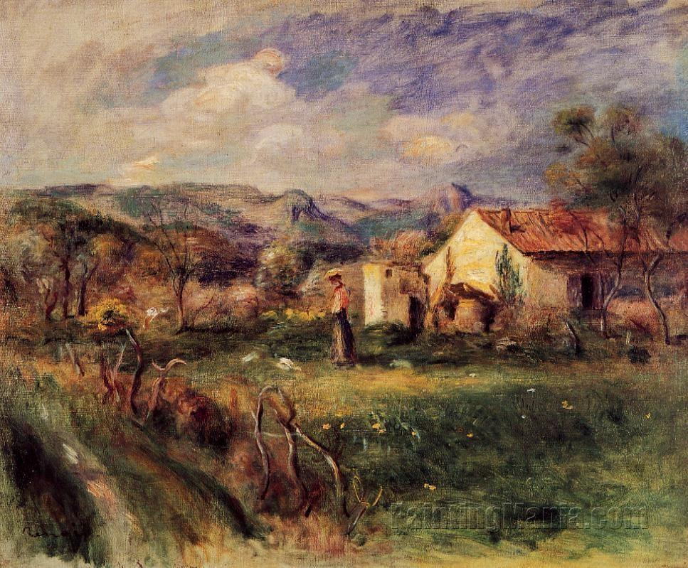 Young Woman Standing near a Farmhouse in Milly