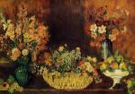 Vase, Basket of Flowers and Fruit
