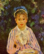 Young Woman in a Blue and Pink Striped Shirt