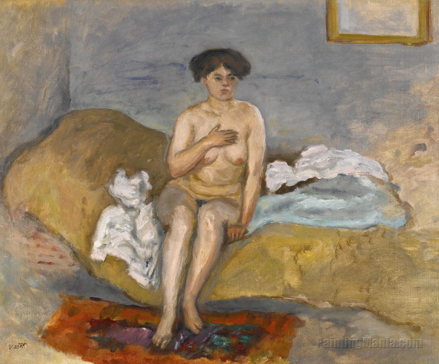 Naked Woman Sitting on a Couch