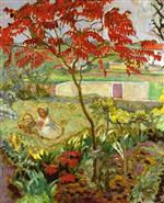 Garden with Red Tree