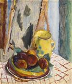 Still Life with Peaches and Yellow Pot